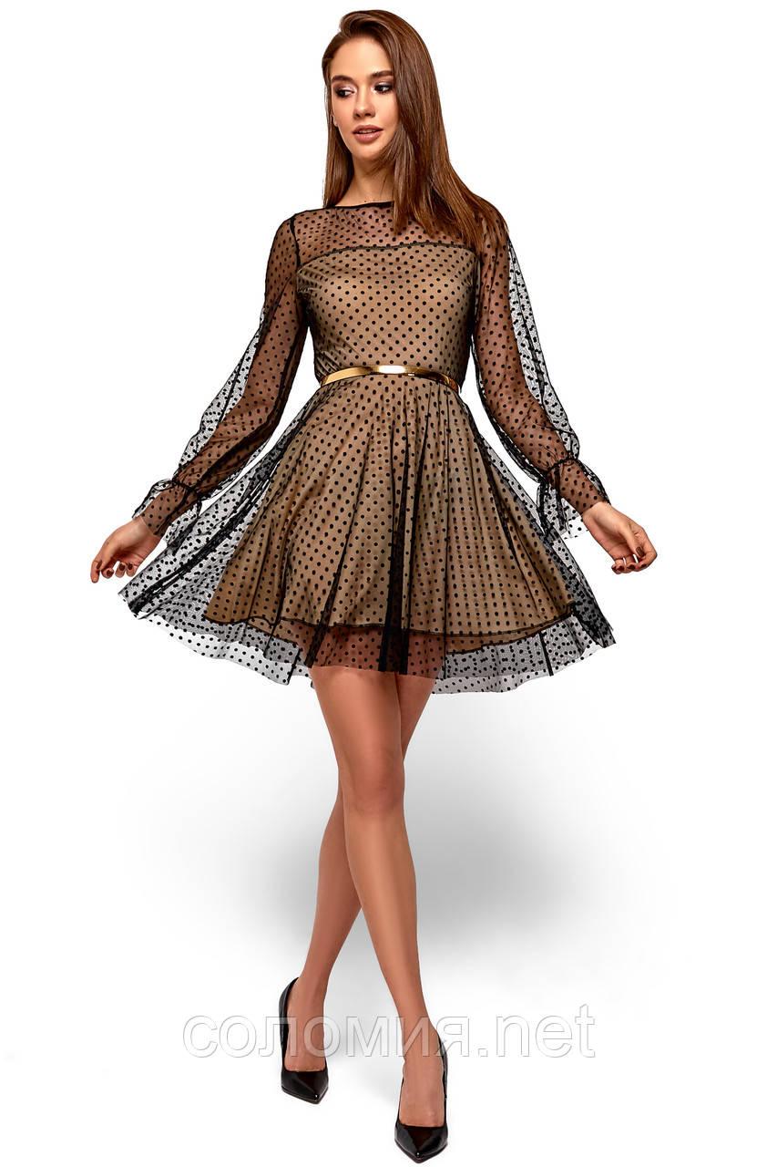 15660a1e1cf5d88 Нарядное Платье из сетки с горошком на трикотажной подкладке 42-48р ...