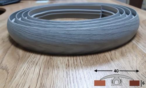 Гибкий порожек из термопластика шириной 40 мм Ideal, 3,0 м Дуб пепельный