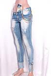 Зауженные женские джинсы с декором и потертостями, фото 3