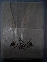 Комплект махровый халат женский и 2 полотенца