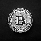 Сувенирная монета Bitcoin silver, фото 2
