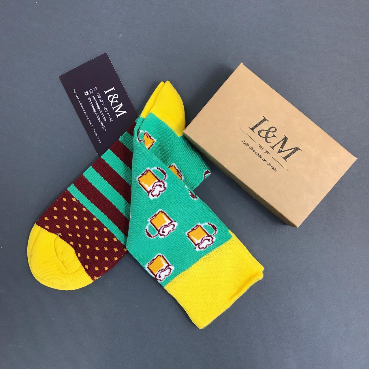 Шкарпетки I&M Craft зеленого кольору з принтом (070149)