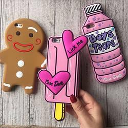 Чехол силиконовый на iPhone 8 / 8+ мороженое, бутылка, человечек