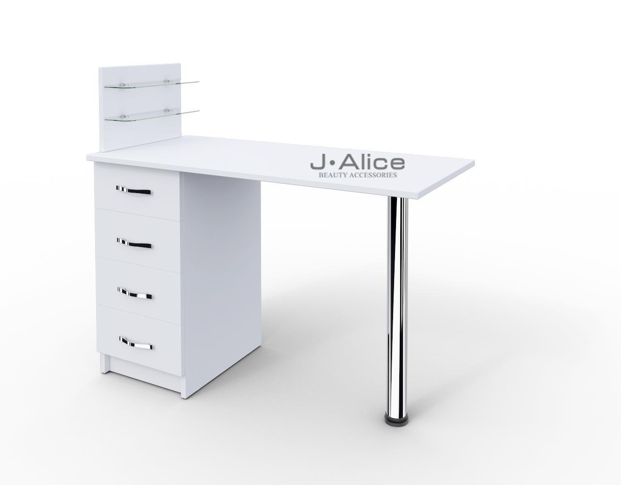 """Стол для маникюра c стеклянными полочками под лак """"Классик"""""""