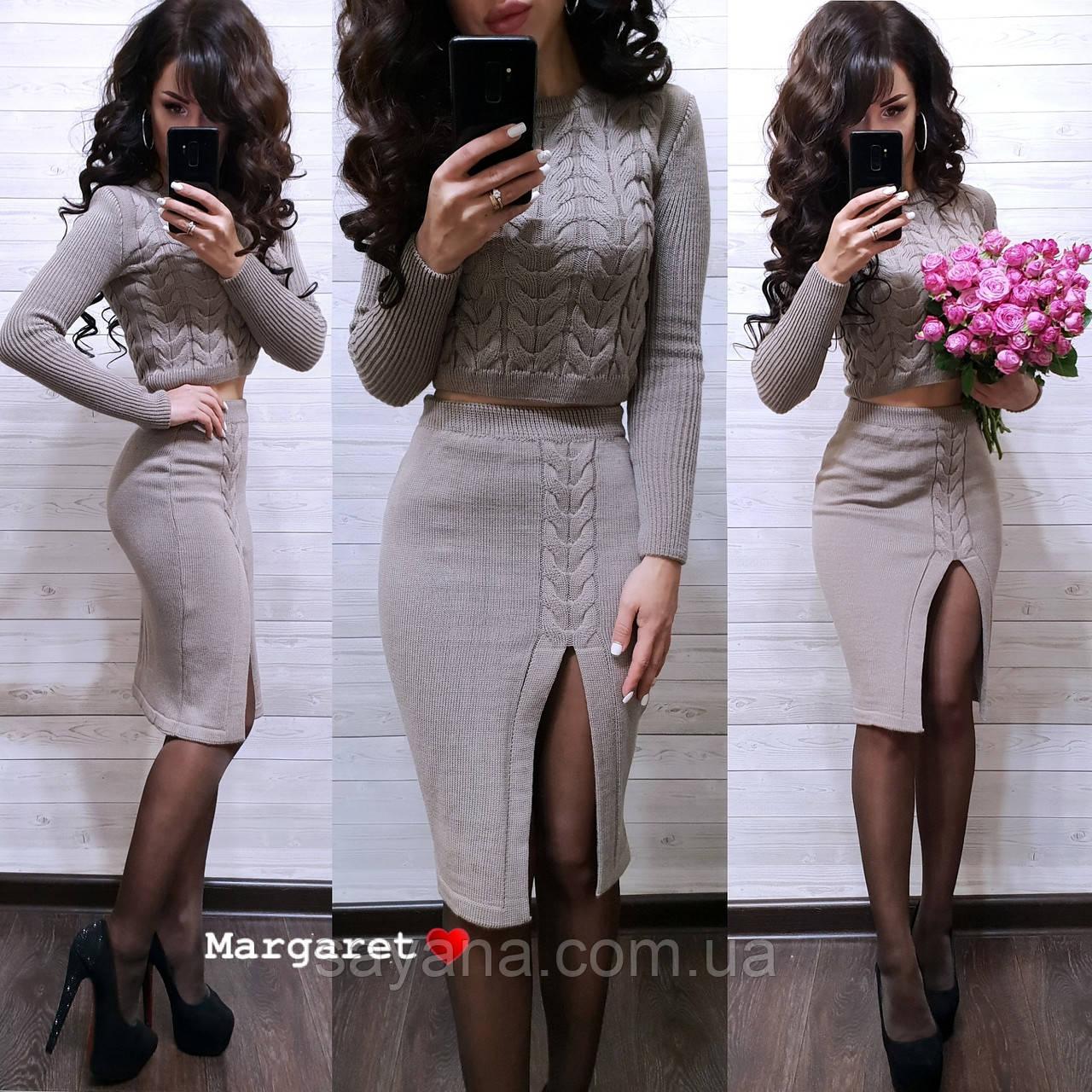 d4922b8116a Купить Женский вязаный костюм с юбкой в расцветках. БЛ-9-0119 ...