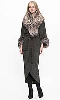 Пальто женское с мехом чернобурки
