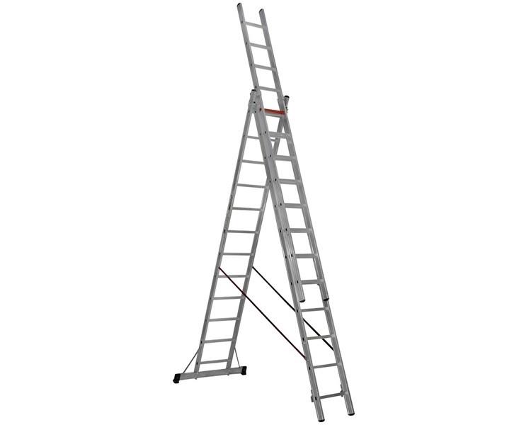 Трехсекционная алюминиевая лестница VIRASTAR 3x12 ступеней TS205