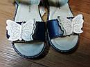 Синие кожаные   ортопедические босоножки с бабочкой Шалунишка (Размер 17 см), фото 3
