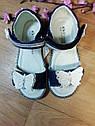 Синие кожаные   ортопедические босоножки с бабочкой Шалунишка (Размер 17 см), фото 2