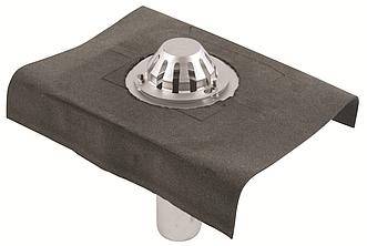 Покрівельна воронка з нержавіючої сталі BLUCHER з бітумним полотном, верт.випуск DN110  арт.403.104.110
