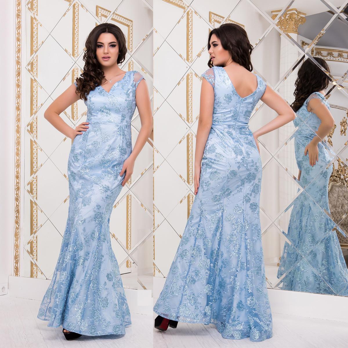 """Длинное голубое вечернее платье годе со шлейфом """"Ольвия"""""""