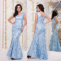 """Длинное голубое вечернее платье годе со шлейфом """"Ольвия"""", фото 1"""