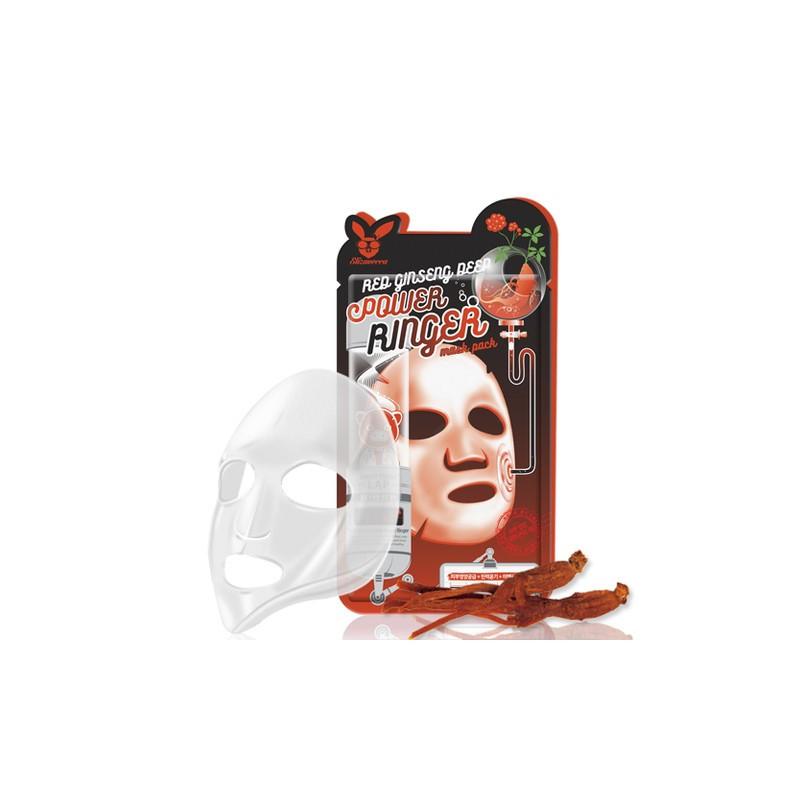Омолаживающая тканевая маска для лица с экстрактом женьшени ELIZAVECCA RED GINSENG DEEP POWER RINGER MASK PACK