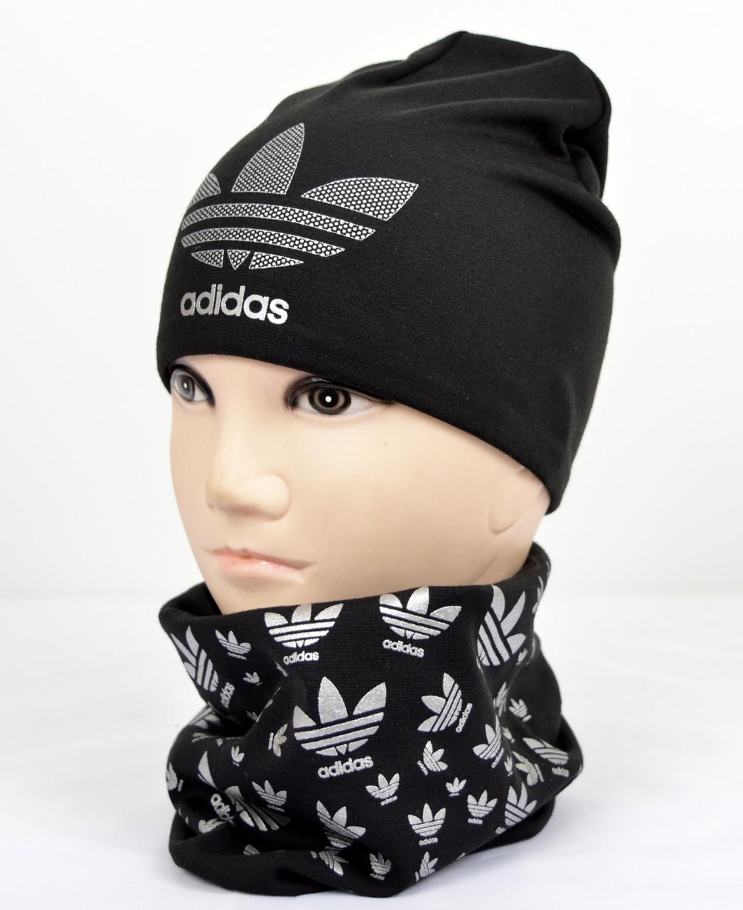 Трикотажный комплект Adidas (шапка+хомут) черный+серебро, фото 1