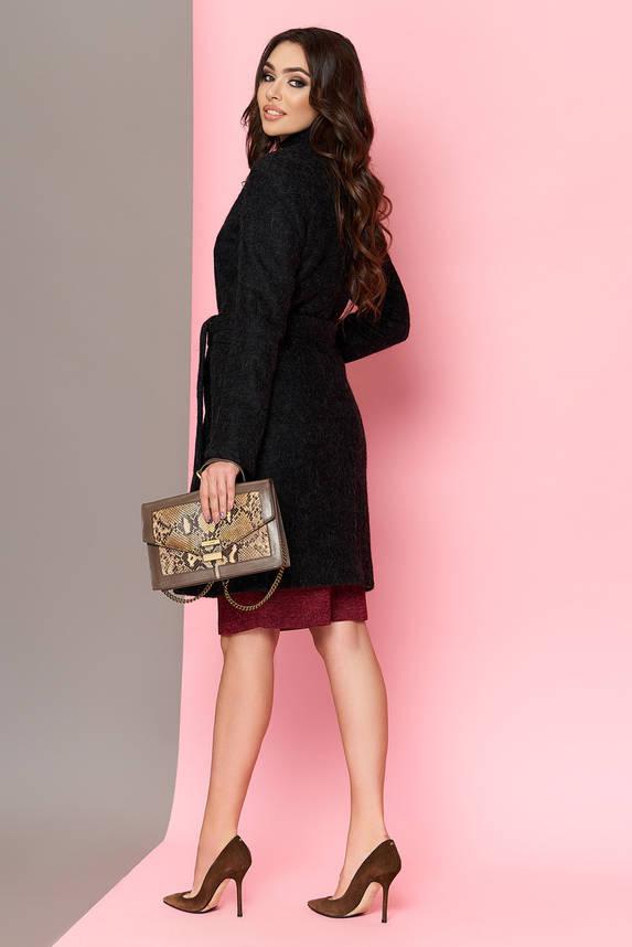Женское пальто весна осень валяная шерсть черное, фото 2
