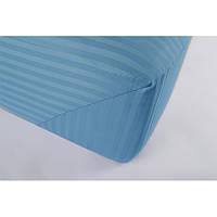 Простынь Lotus Отель - Сатин Страйп 1*1 голубой Турция 180*200*25 на резинке