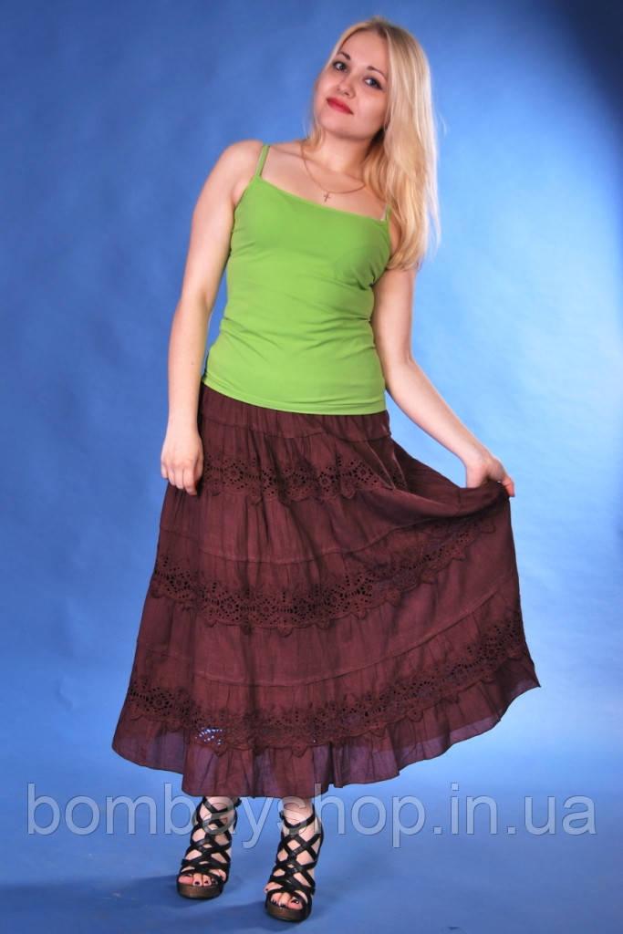 Легка жіноча літня ажурна батистова коричнева спідниця №6184 шоко - БОМБЕЙ  - магазин колоритного одягу 9f0025e7d3c61