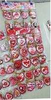 """Вітальні листівки """"Валентинки"""" фігурні серця великі (7x7,5 см, 160 шт у блістері)."""
