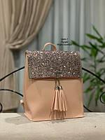 Женские рюкзаки Глиттер,пудра, фото 2