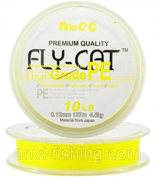 Шнур плетеный NTEC Fly Cat YELLOW (желтый) 137 m