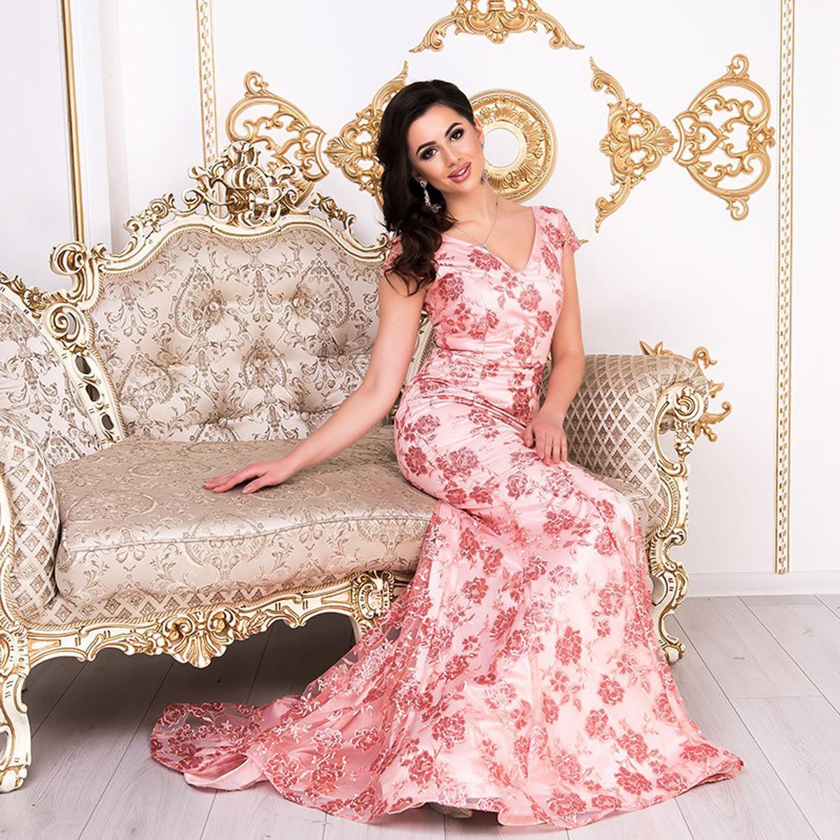 """Шикарне випускне довгу сукню зі шлейфом коралове """"Ольвія"""""""