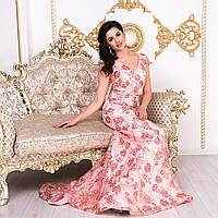 """Шикарне випускне довгу сукню зі шлейфом коралове """"Ольвія"""", фото 1"""