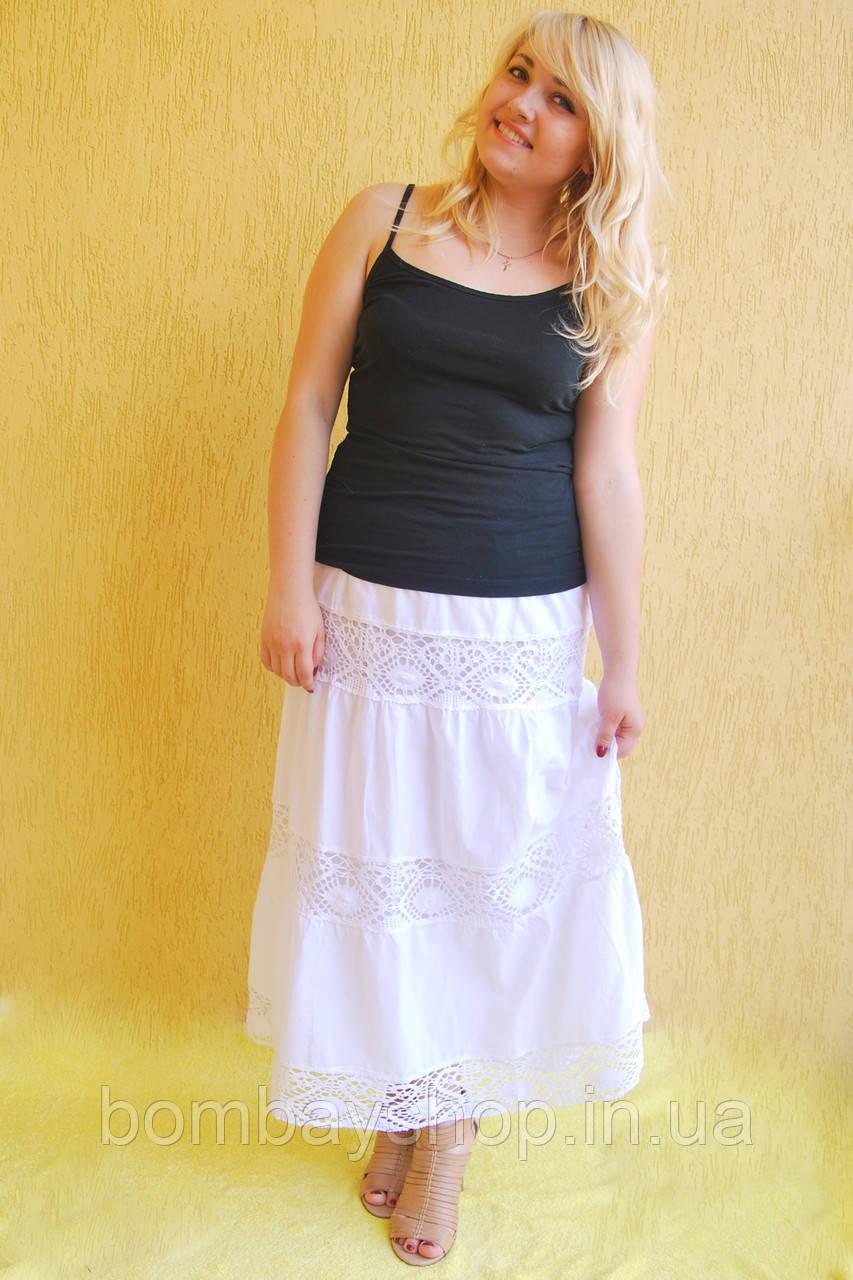Легка жіноча літня ажурна батистова біла спідниця № 42  продажа ... cb7c67164dec3