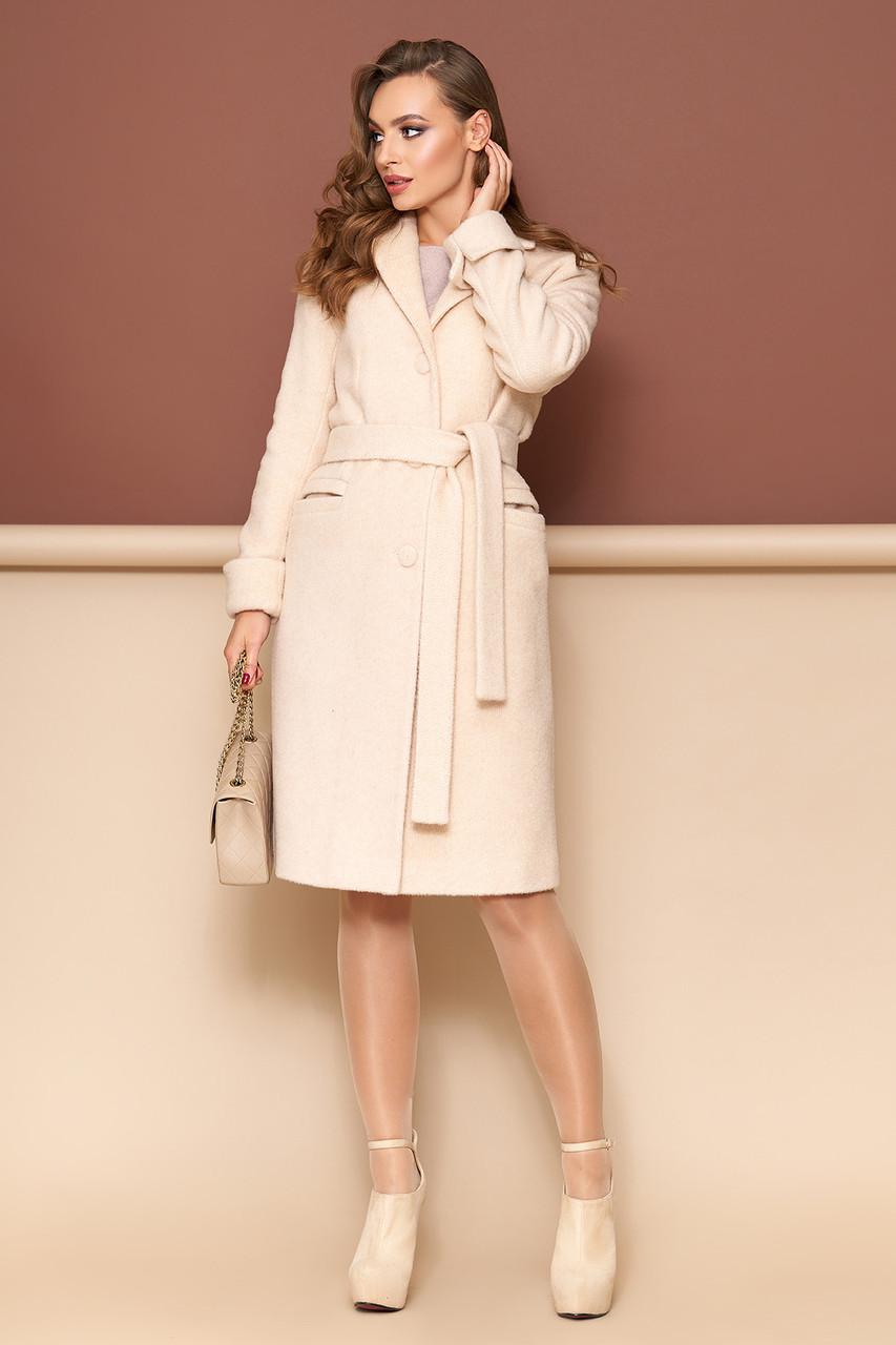 Женское пальто из кашемира демисезонное бежевое