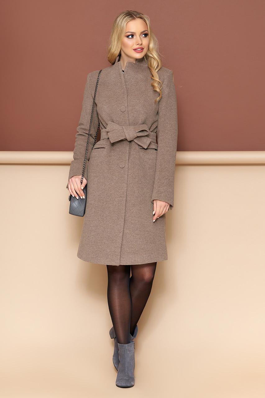 Женское пальто из кашемира демисезонное капучино