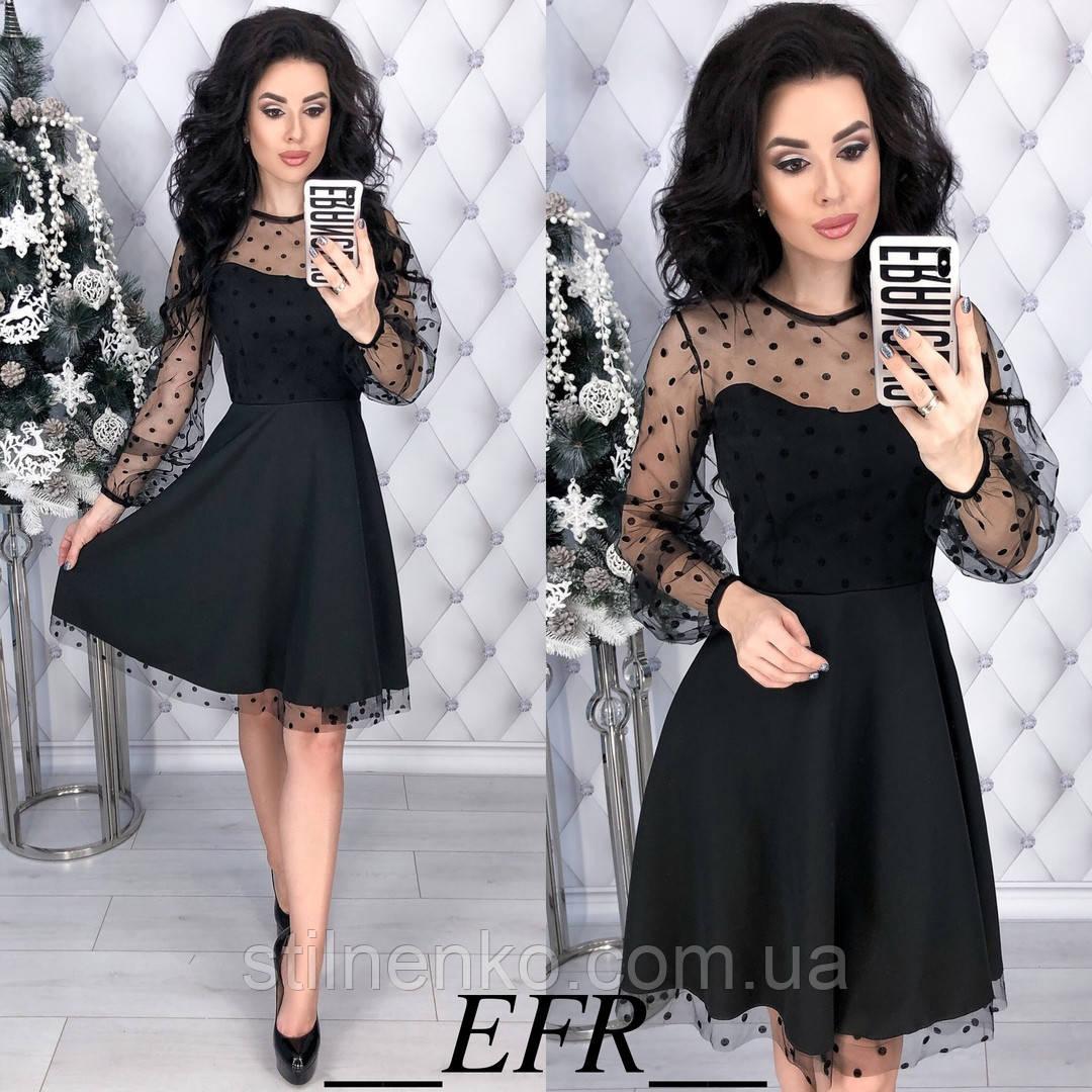 7adf4bd016e Красивое женское платье с сеткой в горох  продажа