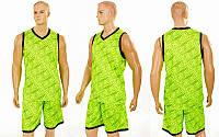 258544aa Форма баскетбольная мужская Camo 8003 (баскетбольная форма): 160-165см,  салатовый цвет