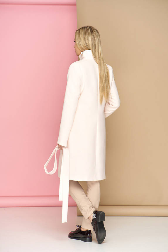 Женское пальто из кашемира демисезонное молочное, фото 2