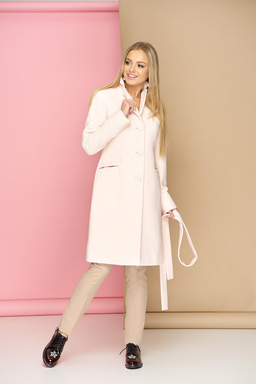 Женское пальто из кашемира демисезонное молочное
