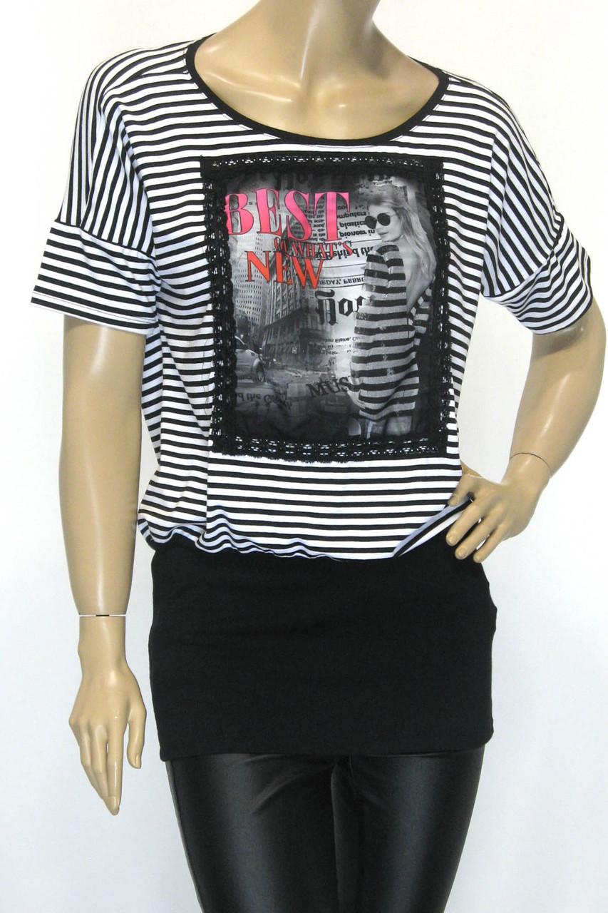 Жіноча футболка туніка в чорно-білу полоску з патентом