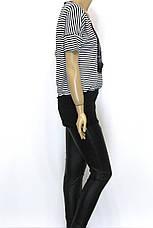 Жіноча футболка туніка в чорно-білу полоску з патентом, фото 2