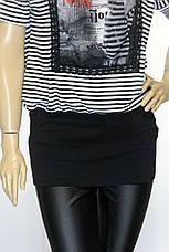 Жіноча футболка туніка в чорно-білу полоску з патентом, фото 3