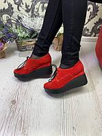 Женские броги на платформе красный замш