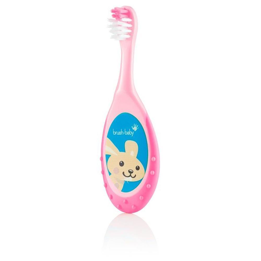 Зубна щітка дітям 0-3 роки FlossBrush Brush-baby (рожева)