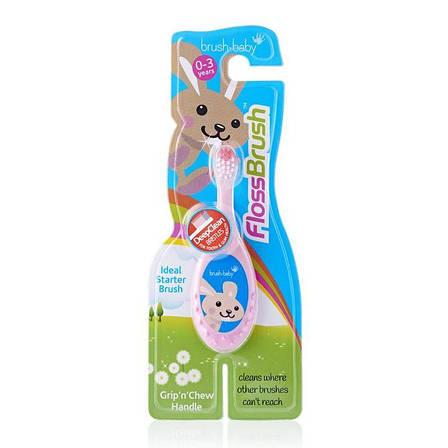 Зубна щітка дітям 0-3 роки FlossBrush Brush-baby (рожева), фото 2