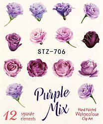 Наклейки для маникюрного дизайна цветы STZ-706 (Purple Mix)