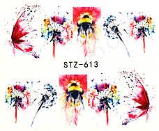 Наклейки для маникюрного дизайна одуванчик и бабочка STZ-613