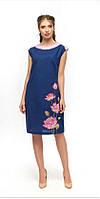 Летнее льняное прямое платье Цветы лотоса без рукавов р 44,52,54