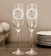 Свадебные бокалы, именная гравировка | модель 37
