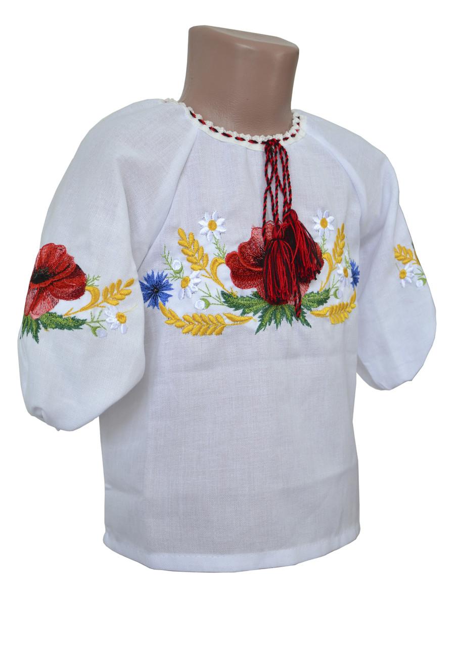 Вышиванка с маками для девочки на домотканого полотна с 3/4 рукавом
