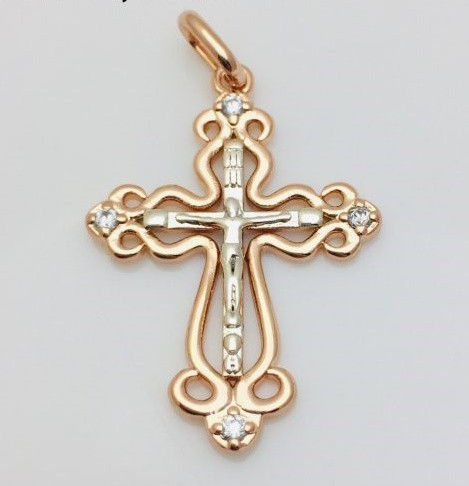 Крест, высота 3 см ширина 2.3 см позолота+ родий 18К Fallon