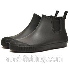 Мужские резиновые ботинки Псков Nordman Beat ПС 30 Черные с фиолетовой подошвой