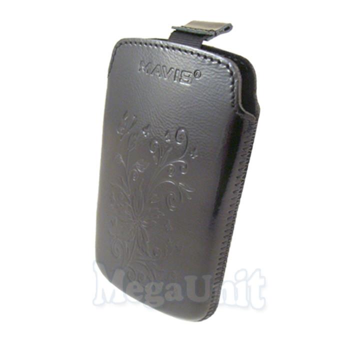 Кожаный чехол Samsung Galaxy Y duos S6102. Mavis Premium flower Черный