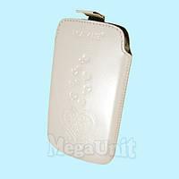Кожаный чехол Samsung S5360 Galaxy Y. Mavis Premium heart Белый
