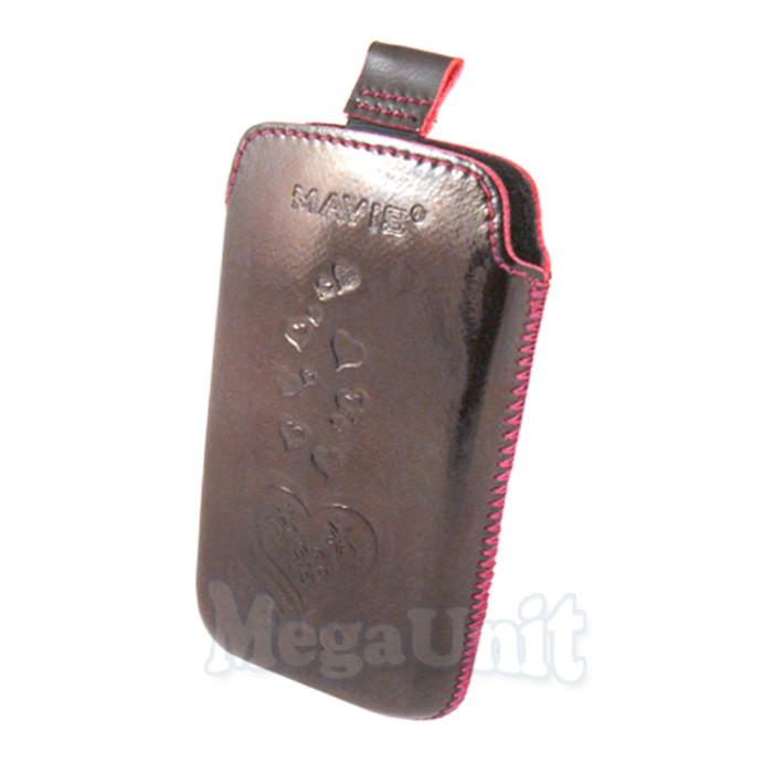 Кожаный чехол Samsung s5230 Star. Mavis Premium heart Бордовый