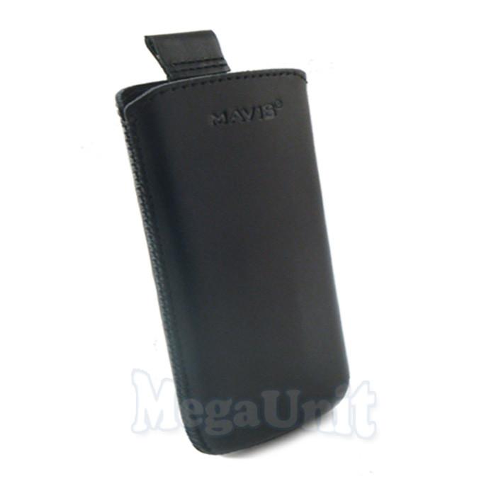 Кожаный чехол Samsung C3322. Mavis Classic Черный